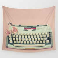 letter Wall Tapestries featuring Love Letter by Cassia Beck