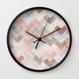 Rose Gold and Marble Geometric Tiles Wall Clock