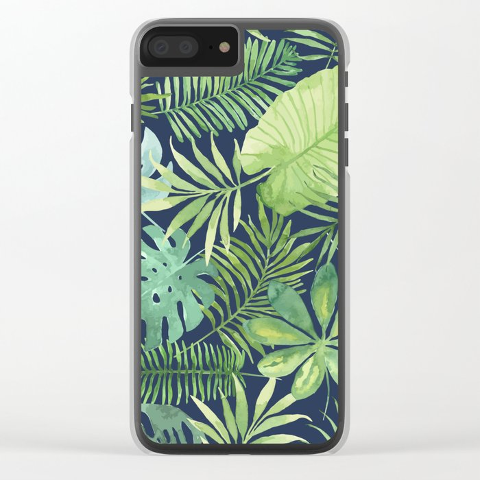 Tropical Branches on Dark Pattern 07 Clear iPhone Case