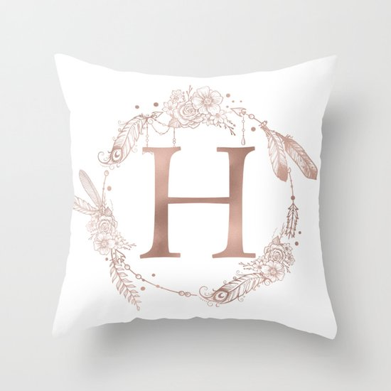703d1d49bd Letter H Rose Gold Pink Initial Monogram Throw Pillow by naturemagick