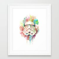 stormtrooper Framed Art Prints featuring Stormtrooper by Veronika Weroni Vajdová