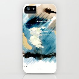 You are an Ocean - abstract India Ink & Acrylic in blue, gray, brown, black and white iPhone Case