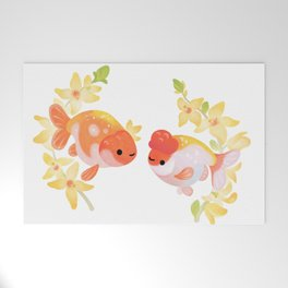 Ranchu and Forsythias Welcome Mat