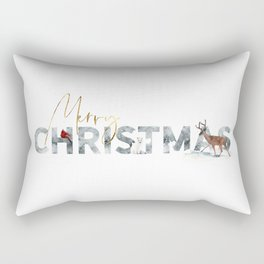 Merry Christmas Animals in the Snow Rectangular Pillow