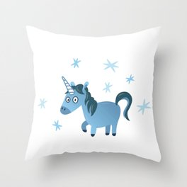 Blue unicorn illustration, Lost in stars Throw Pillow