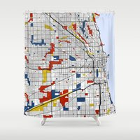 chicago Shower Curtains featuring Chicago by Mondrian Maps