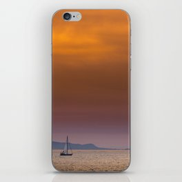 Yacht sailing towards Catalina Island iPhone Skin