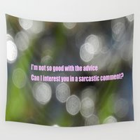 sarcasm Wall Tapestries featuring Bokeh Sarcasm by Casey J. Newman