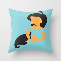 aladdin Throw Pillows featuring Jasmine - Aladdin by Adrian Mentus