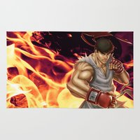 street fighter Area & Throw Rugs featuring Ryu Street Fighter by RoPerez