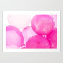 Pink Birthday Balloons Art Print