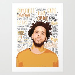 J Cole quote print / poster hand drawn type / typography Art Print