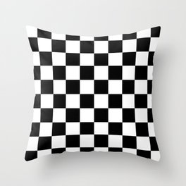 Black White Checker Throw Pillow