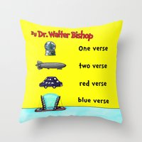 verse Throw Pillows featuring Fringe One Verse, Two Verse, Red Verse, Blue Verse by Passive Fluency