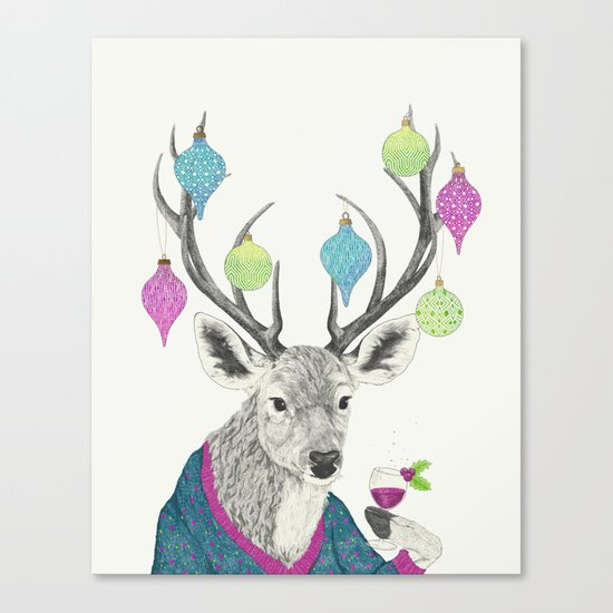 Mr. Deer gets festive  Canvas Print