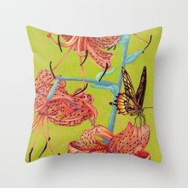 Tiger Lilies with Butterfly Throw Pillow