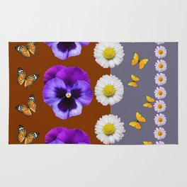 BROWN & PURPLE PANSY WHITE DAISY BUTTERFLIES SPRING Rug