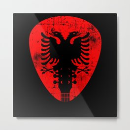 Albania Flag Guitar Plectrum Metal Print