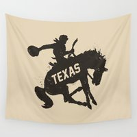 cowboy Wall Tapestries featuring Texas Cowboy by Sanctuary Printshop
