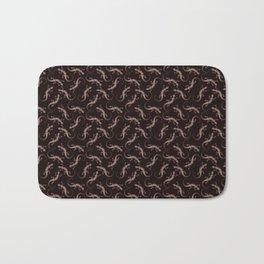 Beautiful chocolate brown artistic lizards. Elegant classy stylish black seamless lizard pattern. Bath Mat