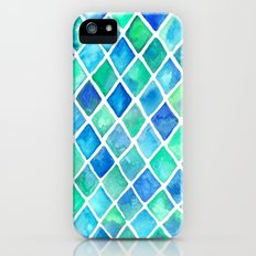 Hand Painted Cobalt Blue & Emerald Green Watercolor Pattern Slim Case iPhone (5, 5s)