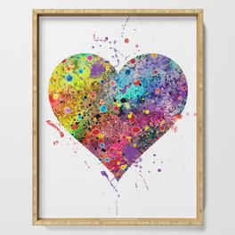 Heart Watercolor Art Love Gift Valentine's Day Gift Wedding Art Engagement Gift Serving Tray