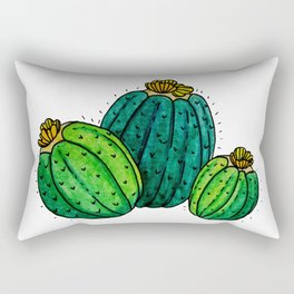 Barrel cactus watercolor white background Rectangular Pillow