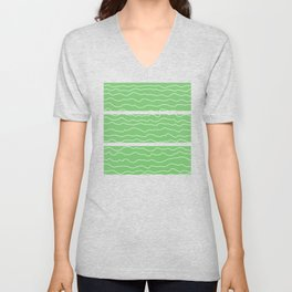 Green with White Squiggly Lines Unisex V-Neck