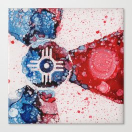 Red White and Blue Wichita Flag By Heather Hayes Canvas Print