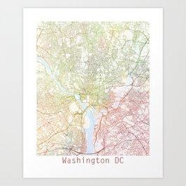 Washington DCmodern wall art Map Watercolor by Zouzounio Art Art Print
