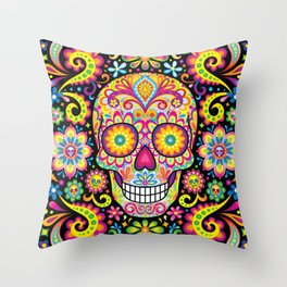 Sugar Skull Art (Spark) Throw Pillow