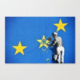 Banksy, Brexit, Euro, Breaking EU Stars, [edited, close up] Canvas Print