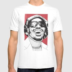Stevie Wonder Mens Fitted Tee 2X-LARGE White