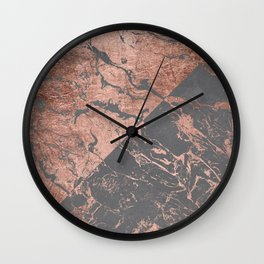 Modern rose gold marble inverted color block grey cement concrete Wall Clock