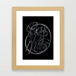 Kiss My Kicks - Black On Black Framed Art Print