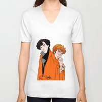 blankets V-neck T-shirts featuring Crash Landings and Shock Blankets by TheScienceofDepiction