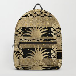 Trendy elegant black faux gold pineapple stripes Backpack