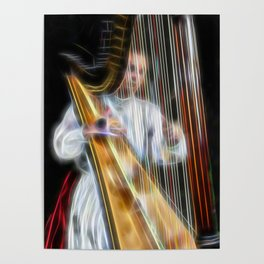 The Harp Player Abstract Poster