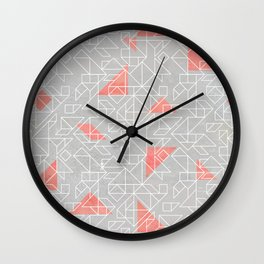 Tangram peach and silver line Wall Clock