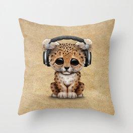 Cute Leopard Cub Dj Wearing Headphones Throw Pillow