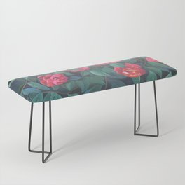 Camellias, lips and berries. Bench