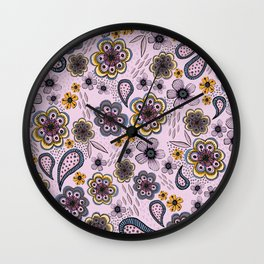 Floral paisley pattern, flowers and paisley surface pattern Wall Clock