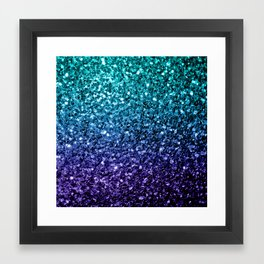 Beautiful Aqua blue Ombre glitter sparkles Framed Art Print