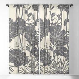 BLACK FLOWERS Sheer Curtain