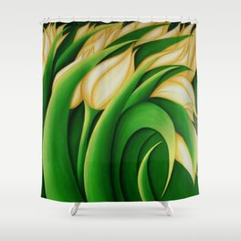 Stylized Yellow Tulips Shower Curtain