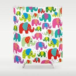 Colorful india elephant kids illustration pattern Shower Curtain
