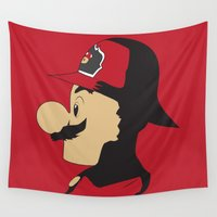 mario Wall Tapestries featuring Mario Firefighter by DonCorgi