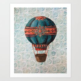 Vintage Hot Air Balloon: Navy and Coral Art Print