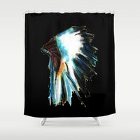 headdress Shower Curtains featuring Headdress by James Peart