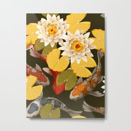 Autumn Lotus Pond With Lush Water Lily Flowers Floral Kingdom Sumptuous Fantasy Flower Pattern Metal Print